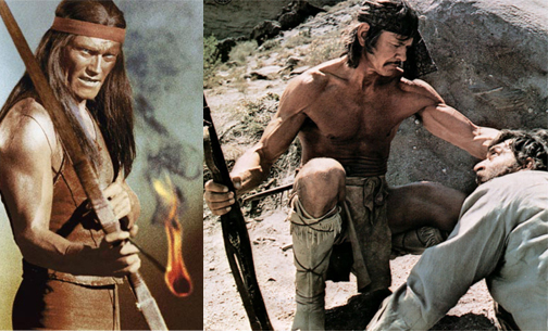 Chuck Connors as Geronimo / Charles Bronson as an Apache